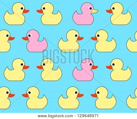 Seamless vector pattern with cute bright yellow ducks. Duck toy baby shower illustration. For cards invitations backgrounds and scrapbooks wallpapers