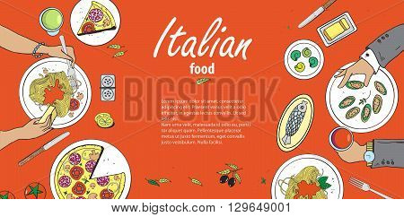 Vector cooking banner template with hand drawn objects on italian food theme: pizza pasta tomato olive oil olives cheese lemon sauce. Ethnic cuisine concept. Italian cuisine hand drawn objects