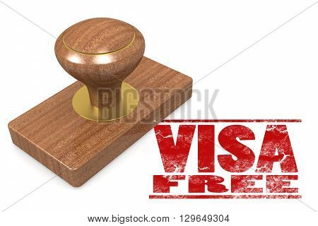 Visa free wooded seal stamp image, 3D rendering