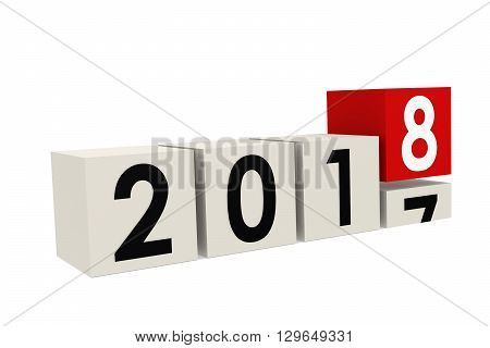 Year 2018 is coming isolated on white 3D rendering
