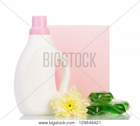 Dry and liquid detergents with a flower on a white background