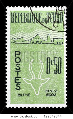 CHAD - CIRCA 1961 : Cancelled postage stamp printed by Chad, that shows Biltine and dorcas gazelle.