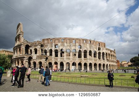ROME, ITALY  APRIL 26: Tourists at the Colosseum in Rome Italy April 26, 2016