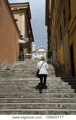 ROME, ITALY  APRIL 27: Tourist at the steps at Via di Sant Isidoro in Rome Italy April 27, 2016