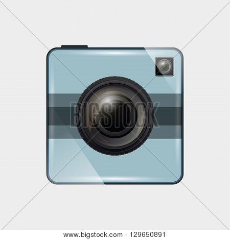 Retro camera flat design. Photo camera icon. Vector illustration.