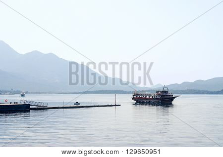 TIVAT MONTENEGRO - SEPTEMBER 16 2015: Pleasure boat in the Bay of Tivat Montenegro