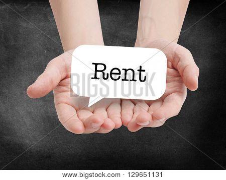 Rent written on a speechbubble