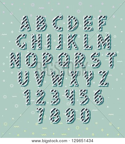 letters 3d. Set letters. Font volume. Set of letters and numbers. Font concept.