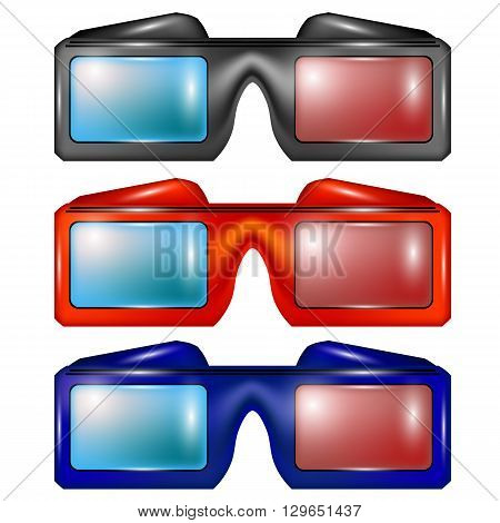 Set of Colorful Glasses for Watching Movies Isolated on White Backround