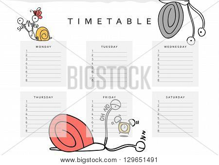 School schedules . School timetable with a funny snail doodle. Sheet schedules