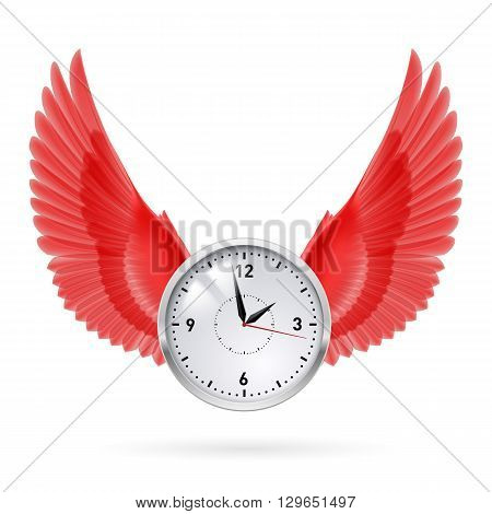 Clock and red wings. Time. Fly. Hours.
