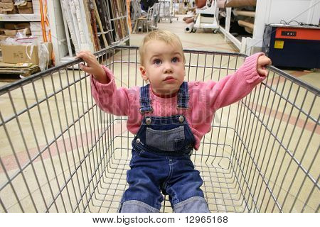 baby in shop carriage