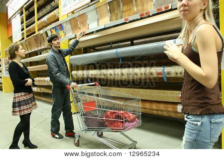 couple in building materials shop