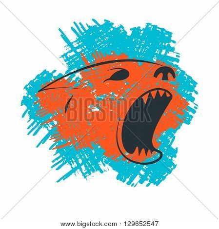 Barking dogs head silhouette template. Grange hand drawn logotype of barking dogs head isolated on white background. Vector concept design which can be used on print, cover or tattoo design.
