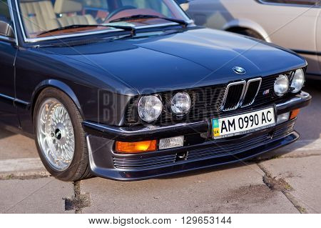 KYIV, UKRAINE - April 22, 2016: Car BMW e23 at festival of vintage cars OldCarLand-2016 in Kiev. Front side of a car close up.
