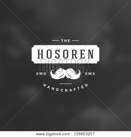Barber Shop Logotype Design Element in Vintage Style for Barber Shop Salon Logo or Label Retro vector illustration. Men Mustache Icon Silhouette.