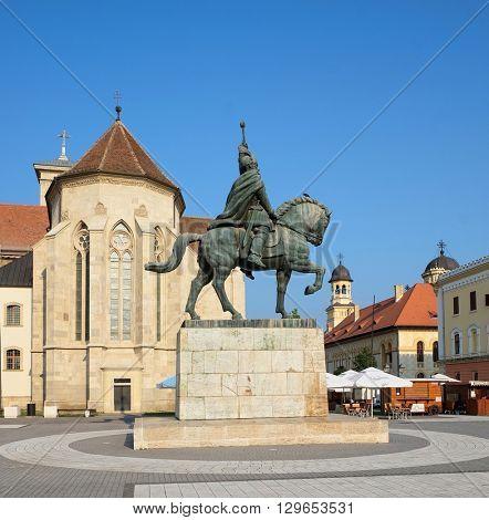 ALBA IULIA, ROMANIA - AUGUST 12, 2015: Michael the Brave's equestrian statue inside Alba Iulia Carolina Citadel