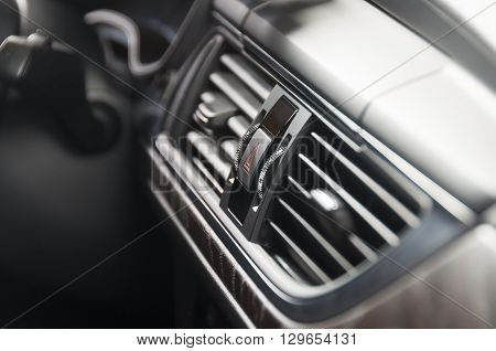 Modern car luxury interior ac ventilation deck