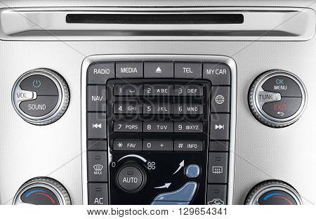 Car interior dashboard control panel ac and media