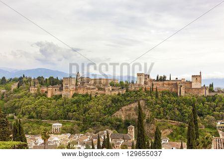 The famous moorish Alhambra palace and fortress at Granada, Spain