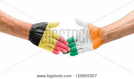 Football Teams - Handshake Between Belgium And Ireland