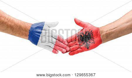 Fußballmannschaften - Handshake Zwischen Frankreich Und Albanien
