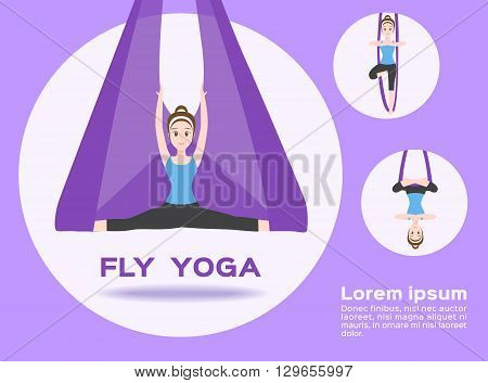 fly yoga vector on purple background , 3 acts