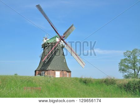 Windmill of Stove near Wismar at Baltic Sea,Mecklenburg western Pomerania,Germany
