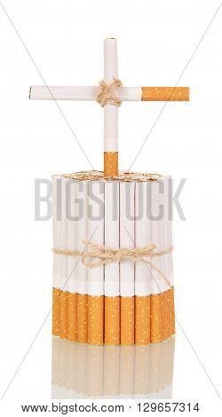 Concept, bunch of cigarettes cross cigarettes closeup isolated on a white background