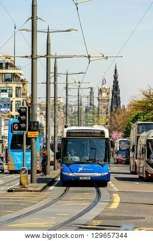 EDINBURGH SCOTLAND - MAY 10 2016: Buses at the west-end of Princes Street in Edinburgh.