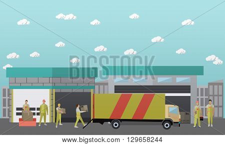 Logistic and delivery service concept banner. Warehouse. Vector illustration in flat style design.