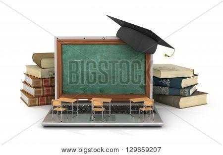 Webinar concept. Schooldesk and chalkboard on the laptop keyboard. 3d illustration