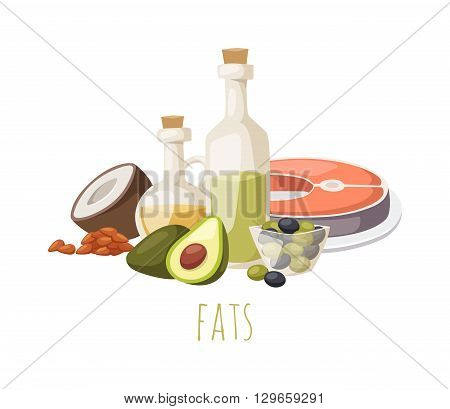 Good fats diet avocado, dry fruits and oil. Fats healthy food vector and good fats food. Fresh diet fats food and green olive fats food nutrition fish raw. Good delicious vegetarian good fats food.