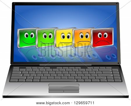 Laptop Computer with Voting Buttons - 3D illustration
