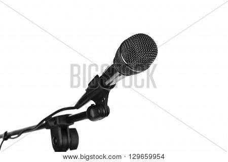 Microphone on stand cutout isolated on white background