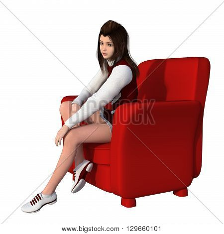 One young girl in white-red uniform of cheerleader. Sitting in a red armchair.. 3D rendering, 3D illustration