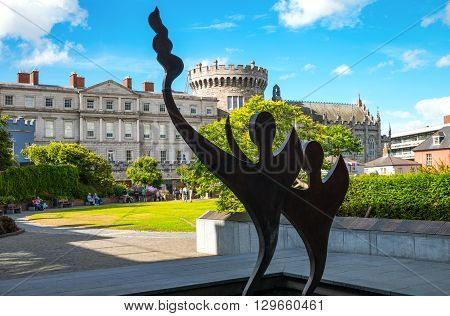 Dublin Ireland - July 30 2013: A sculpture in the Dublin Castle gardens