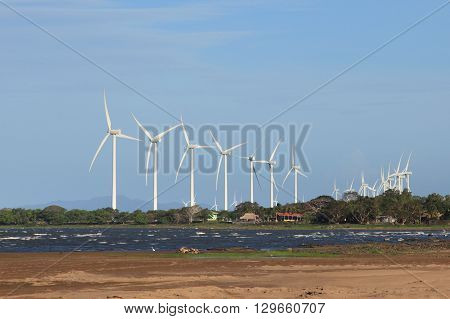 group of wind turbines at the coast of lake Nicaragua