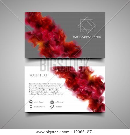 Modern simple light business card template with amazing background. With the purple-wine smoke which dissolving in the air background. Vector eps 10.