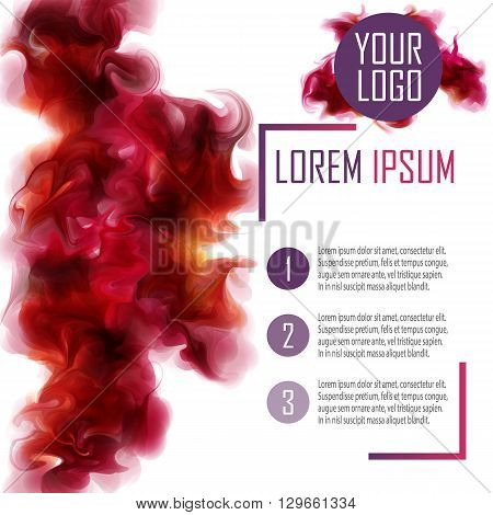 Vector Poster Template. With the purple-wine smoke which dissolving in the air. Vector eps 10. Abstract Background for Business Documents Flyers and Placards.