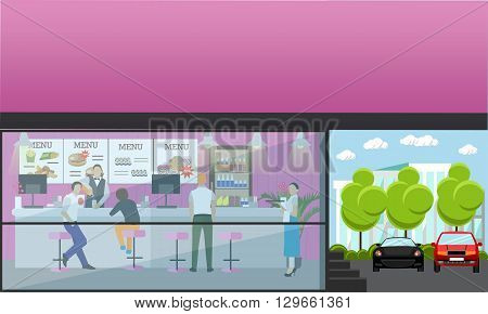 Vector set of banners with restaurant interiors. Fast food restaurant in flat design.