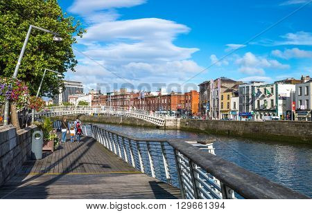 Dublin Ireland - July 31 2013: View of the city on the Liffey river in the Temple Bar district
