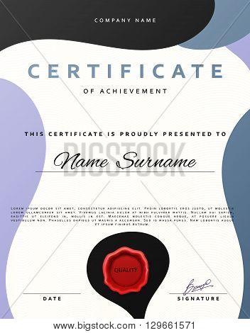 Certificate design.  Certificate border.  Certificate frame. Certificate and diploma. Certificate of achievement. Premium present certificate. Guilloche certificate