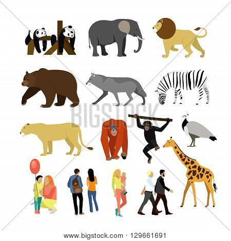 Zoo animals isolated on white background. Vector illustration. Wild african animals. Many different animals, giraffe, elephant, bear, lion, panda and monkey.