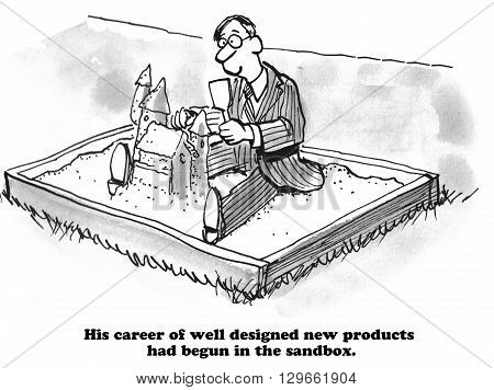 Business cartoon about innovation and learning in the sandbox.