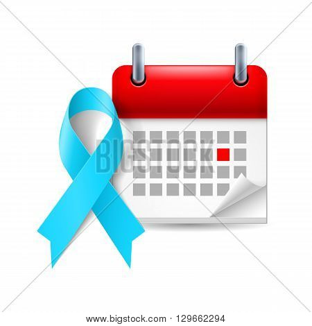 Light blue awareness ribbon and calendar with marked day. Prostate cancer awareness Graves Disease symbol