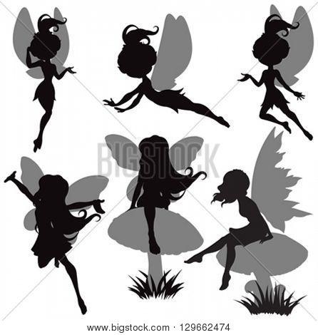 Illustration of fairy silhouette set