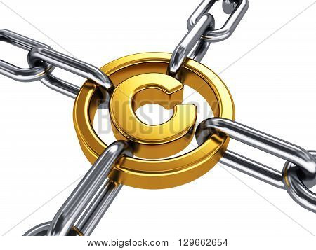 3D render illustration of shiny golden metallic copyright symbol with stainless steel chains isolated on white background
