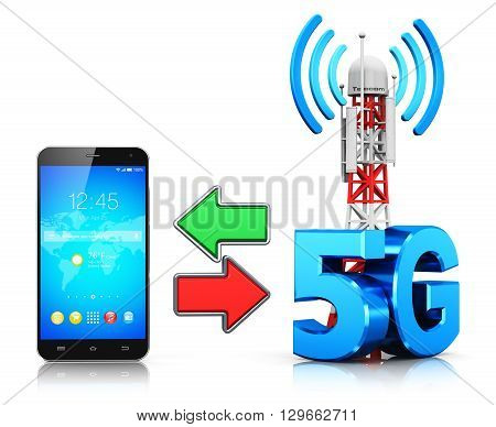 3D render illustration of modern touchscreen smartphone and mobile base station or TV transmitter antenna pylon with 5G sign symbol or logo isolated on white background