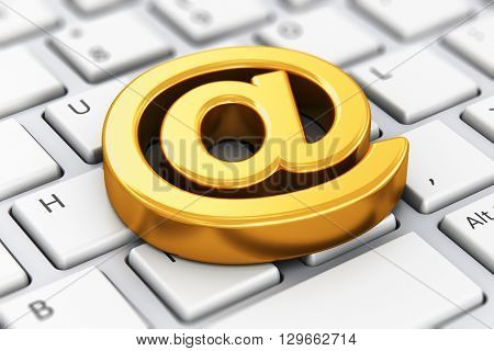 3D render illustration of shiny golden metallic email AT symbol on computer PC or laptop notebook keyboard with selective focus effect